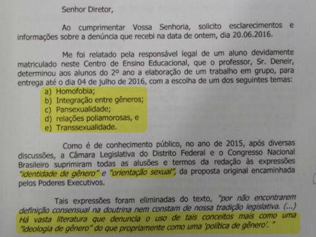Ofício enviado pela deputada distrital Sandra Faraj à direção de escola do DF que aplicou atividade sobre gênero e diversidade sexual (Foto: CLDF/Reprodução)
