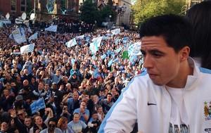 Festa Manchester City, nasri (Foto: Reprodução/Twitter Manchester City)
