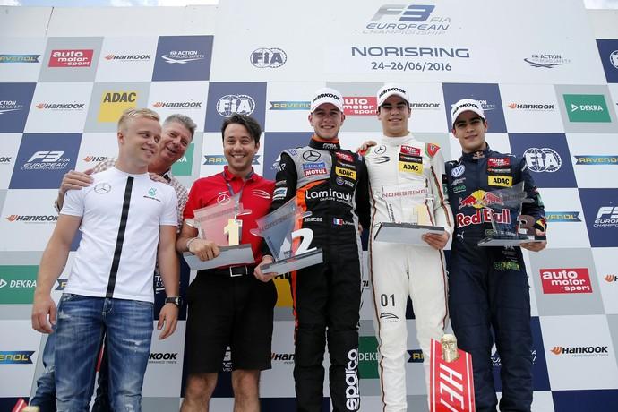 Sérgio Sette Câmara subiu ao pódio na etapa de Nuremberg da Fórmula 3 europeia (Foto: Divulgação)