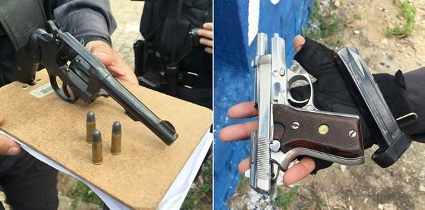 Um revólver e uma pistola foram apreendidos com os assaltantes  (Foto: Divulgação/GOE)