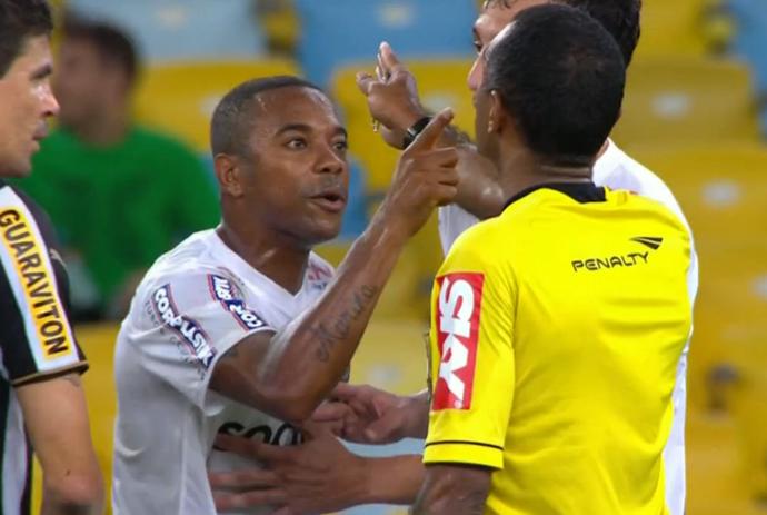 Robinho; expulsão; Botafogo x Santos (Foto: Reprodução SporTV)
