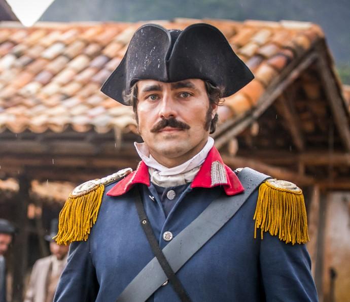 Ricardo Pereira é o capitão Tolentino em 'Liberdade, Liberdade' (Foto: Paulo Belote / TV Globo)