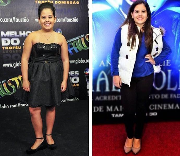À esquerda, a atriz na época de 'Avenida Brasil' e, à direita, a jovem em momento atual (Foto: Matheus Cabral / TV Globo / Arquivo pessoal)