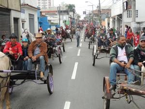 Charretes participaram da Entrada dos Palmitos em Mogi das Cruzes. (Foto: Jenifer Carpani/G1)