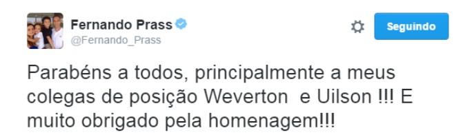 Fernando Prass twitter (Foto: Reprodução/Twitter)