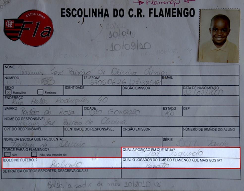 Primeira ficha de Vinicius Junior, na escolinha do Flamengo em São Gonçalo (Foto: André Durão)