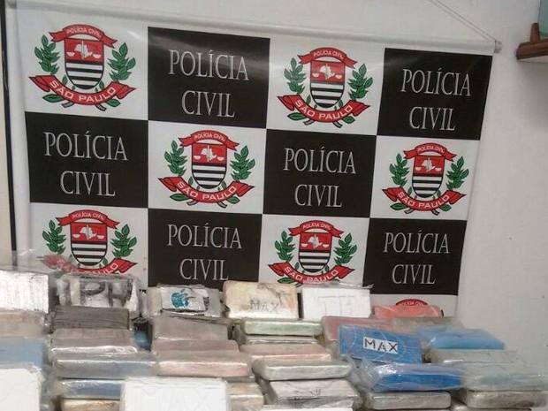 Polícia apreendeu cerca de 300kg de cocaína em Santos (Foto: Divulgação/Polícia Civil)