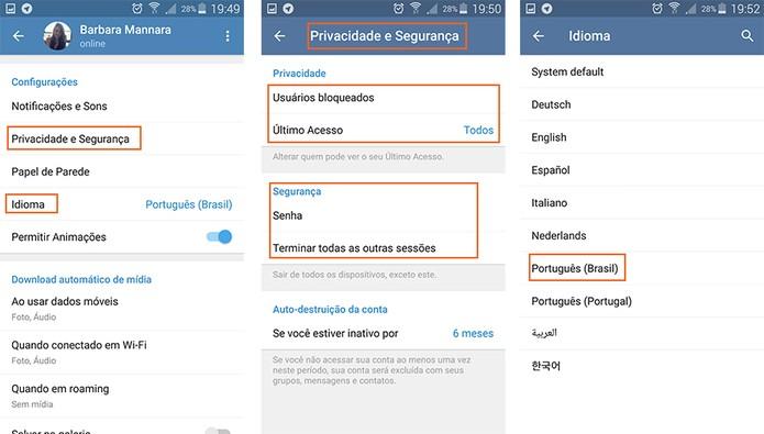 Configurações de privacidade e segurança além da troca de idioma para português (Foto: Reprodução/Barbara Mannara)