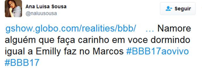 Tuite Emilly vela Marcos 2 (Foto: Twitter)