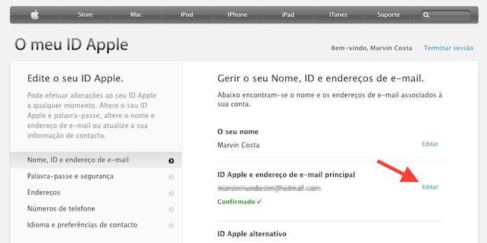 Editando o e-mail principal vinculado a uma Apple ID (Foto: Reprodução/Marvin Costa)