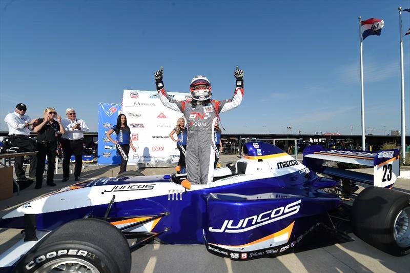 Victor Franzoni conquistou a quinta vitória da temporada no Oval da St. Louis Pro Mazda penúltima prova da temporada 2017 (Foto: Divulgação/Promazda.com)