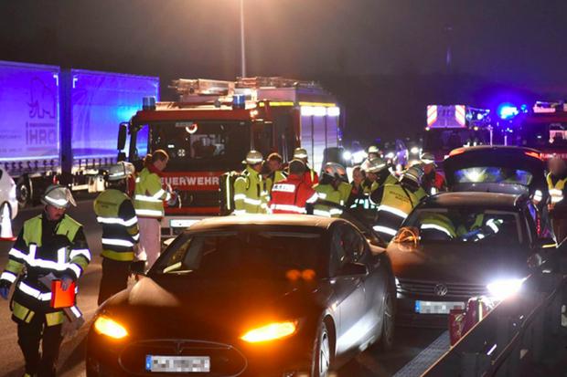 Acidente Tesla (Foto: Feuerwehr Munchen)