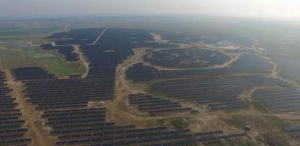 Painel solar na China em formato de panda (Foto: Divulgação)