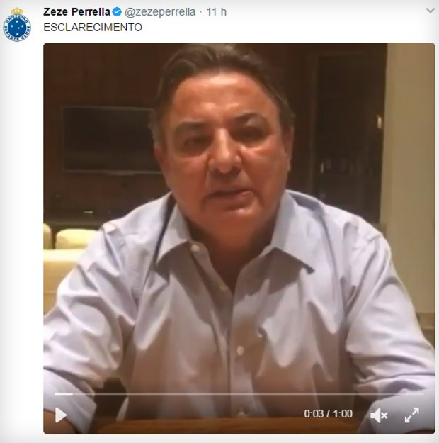 Vídeo de Zezé Perrella no Twitter (Foto: Reprodução/Twitter)