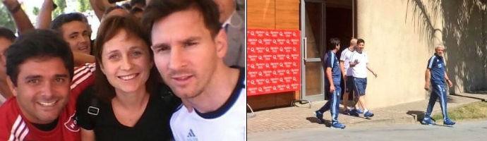 Messi na chegada ao hotel em Córdoba