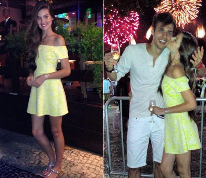 Camila Queiroz com o namorado Lucas Cattani no último ano novo (Foto: Arquivo pessoal)