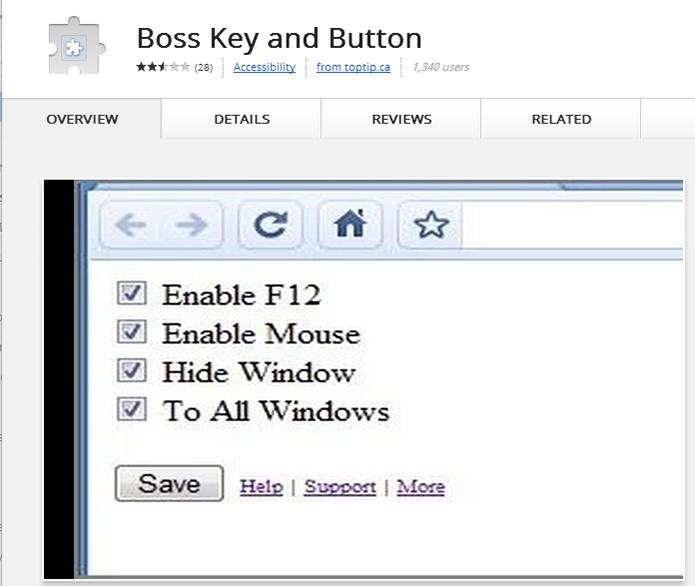 Extensão para Chrome permite configurar teclas e mouse para esconder navegador (Foto: Reprodução) (Foto: Extensão para Chrome permite configurar teclas e mouse para esconder navegador (Foto: Reprodução))