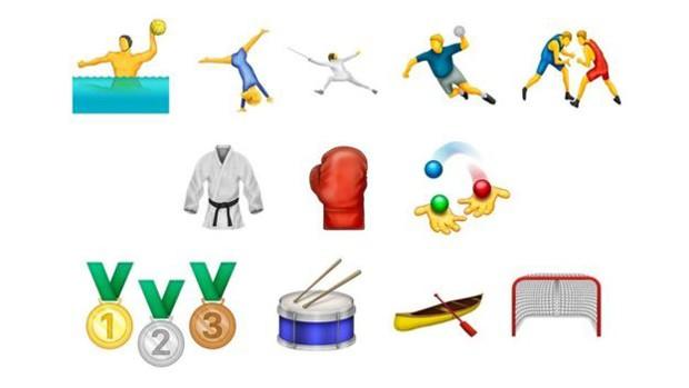 Em clima de Jogos Olímpicos, foram incluídos emojis de novos esportes e de medalhas (Foto: Divulgação/Emojipedia)