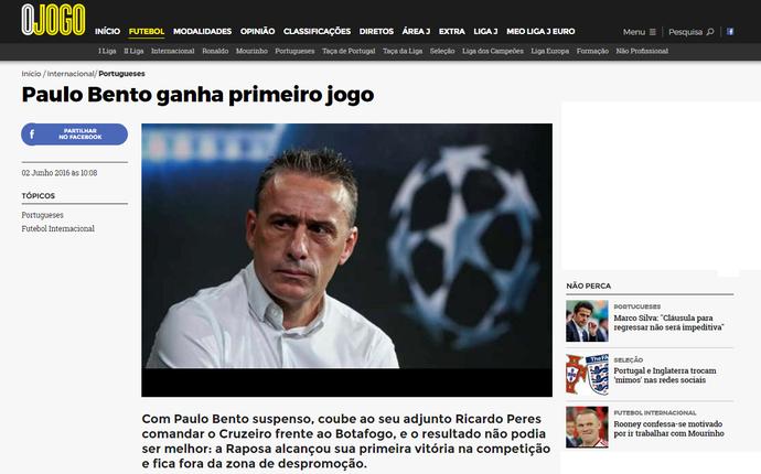 """Português """"O jogo"""" noticia vitória cruzeirense contra o Botafogo (Foto: Reprodução/Internet)"""