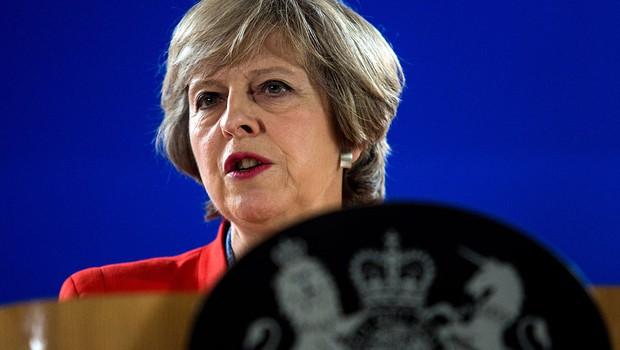 A primeira-ministra britânica Theresa May discursa sobre os planos da saída do Reino Unido da União Europeia (Foto: Jack Taylor/Getty Images)