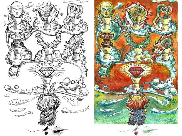 Ilustração, Dito pelo não dito, literatura, tarô, Macapá, Amapá (Foto: Igum D'jorge/Arquivo Pessoal)