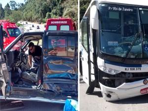 Motorista morre após batida com ônibus na BR-116 em Teresópolis (Foto: Claucio Mizael/Rádio Teresópolis)