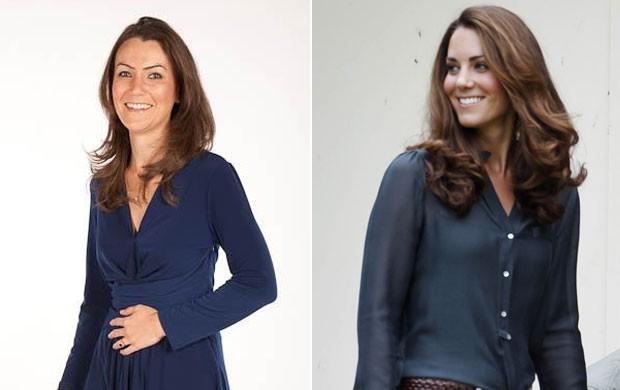 Heidi Agan (esq) cobra até 650 libras (R$ 2.130) por aparição pública como sósia de Kate. (Foto: Reprodução/AFP)