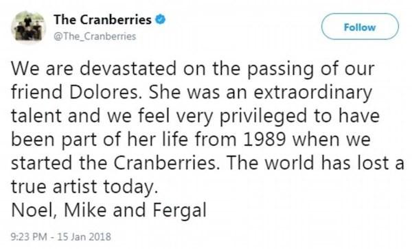 O comunicado no qual os membros do Cranberries anunciam a morte da cantora Dolores O'Riordan, (Foto: Twitter)