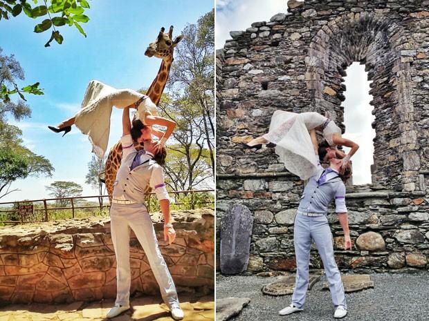 Cheetah e Rhiann Woodyard são acrobatas profissionais e se casaram nos 6 continentes (Foto: Cheetah Platt/Arquivo pessoal)