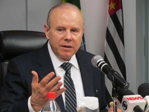 Ministro da Fazenda Guido Mantega repercute o PIB nesta sexta-feira (31) (Foto: Darlan Alvarenga/G1)