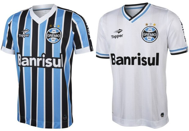 Novos modelos tricolor e branca do uniforme gremista (Foto: Divulgação/Topper)
