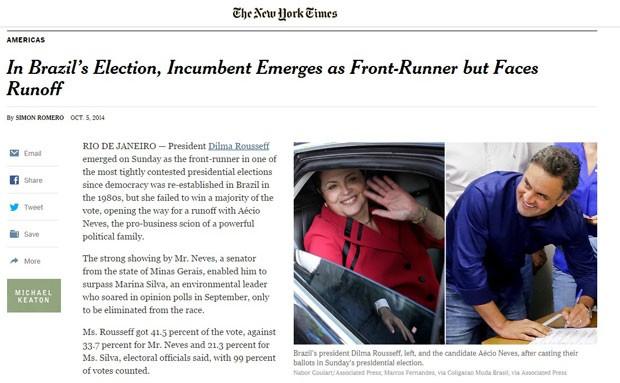 Reprodução de tela do NYT com notícia sobre eleições no Brasil 2014 (Foto: Reprodução/G1)