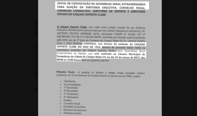 Edital de convocação para eleição do Caiçara (Foto: Reprodução/Facebook)