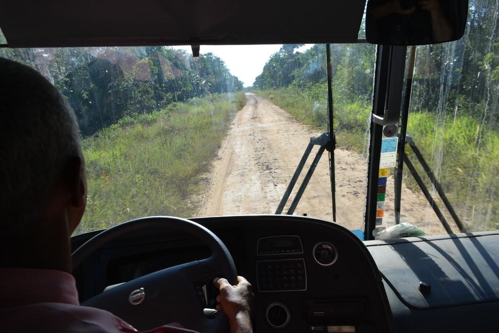 Visão do motorista da estrada (Foto: Mary Porfiro/G1)