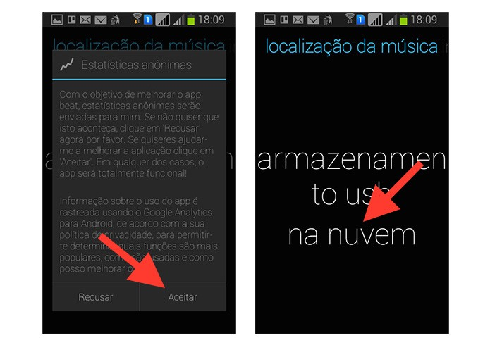Iniciando a configuração do aplicativo Beat - Cloud & Music Player no Android (Foto: Reprodução/Marvin Costa)