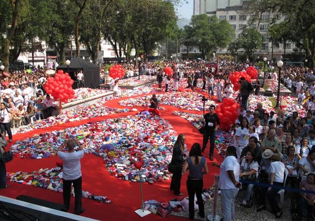 Ação do Coração em Santos, SP (Foto: Mariane Rossi/G1)