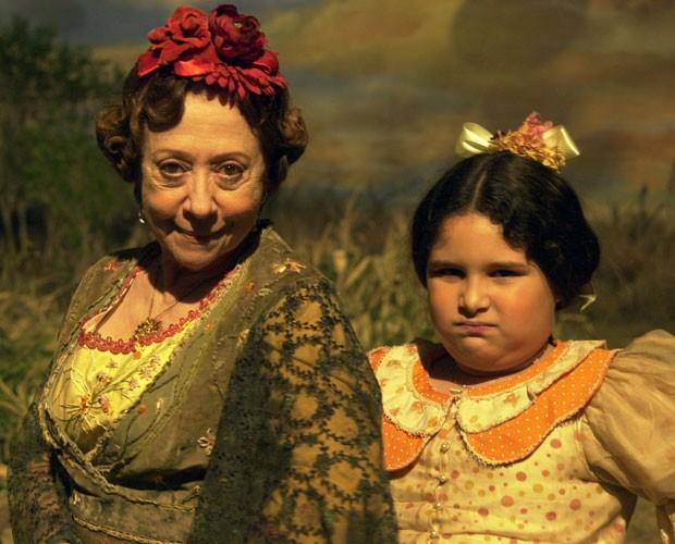 Taynná viveu a filha de Fernanda Montenegro na minissérie (Foto: Gianne Carvalho / TV Globo e Arquivo Pessoal)