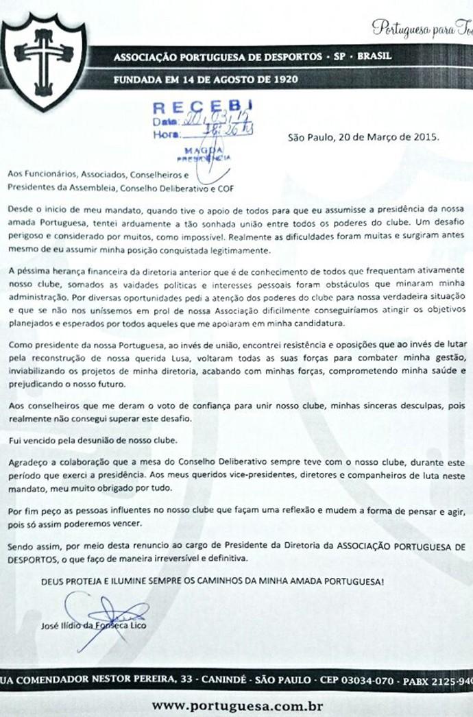 Carta de renúncia do Ilídio Lico (Foto: Divulgação)