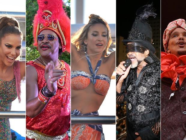 Sábado de Carnaval teve Ivete, É o Tchan, Claudinha, Brown e Netinho (Foto: Arte G1)