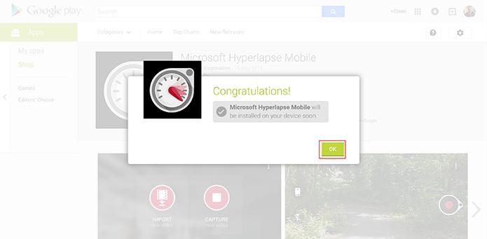 Hyperlapse Mobile será instalado no aparelho após a confirmação do usuário (Foto: Reprodução/Elson de Souza)