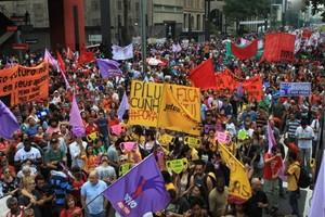 Manifestação na Avenida Paulist (Foto: Agência Estado)