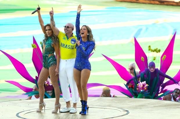 Jennifer Lopez, Pitbull e Claudia Leitte  (Foto: Manuela Scarpa/Photo Rio News)