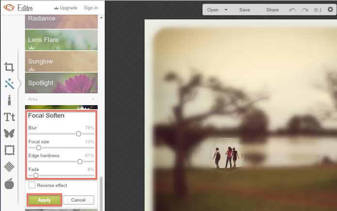 Alterando os parâmetros de foco de uma imagem através do PicMonkey (Foto: Reprodução/Marvin Costa)