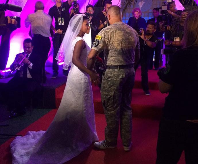 Casal foi um dos últimos a ser escolhido para casar no Rock in Rio (Foto: Fernanda Almeida/Gshow)