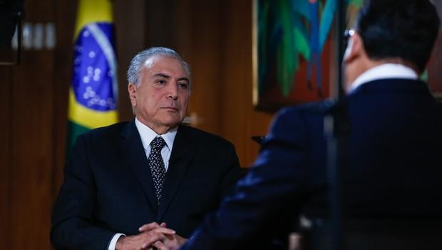 O presidente Michel Temer (PMDB) concede entrevista ao apresentador Ratinho (Foto: Marcos Corrêa / PR)