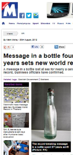 Escocês acha garrafa com mensagem que ficou 97 anos no mar (Foto: Reprodução)