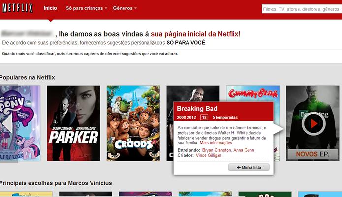 Reproduzindo um título do Netflix na TV via cabo HDMI (Foto: Reprodução/Marvin Costa)