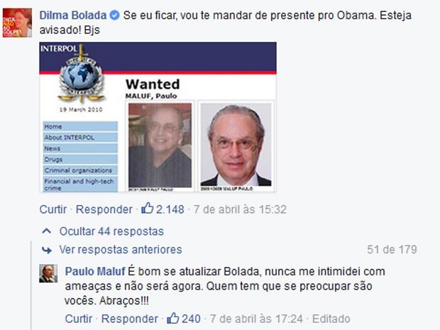 Maluf responde a comentários em seu Facebook (Foto: Reprodução/Facebook)