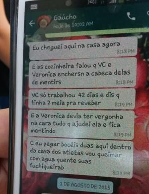 Mensagem telefônica do presidente do Vilhena para as ex-cozinheiras do time (Foto: Eliete Marques)