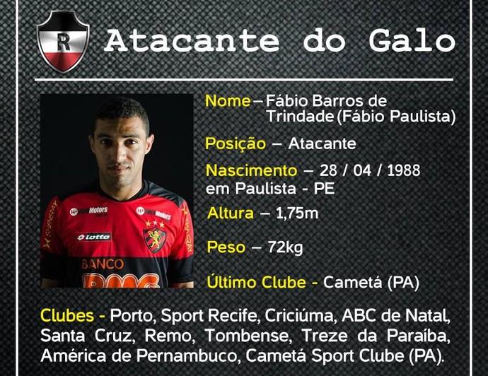 Ficha técnica Fábio Araújo (Foto: Reprodução/RAC)